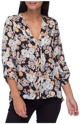 Bobeau B Collection by Women's Cristy Pleat-Back Floral-Print Blouse