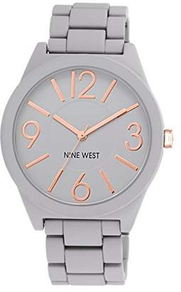 Nine West Women's NW/1678GYRG Watchme Analog Display Japanese Quartz Grey Bracelet Watch