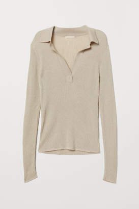 H&M V-neck Top with Collar - Beige