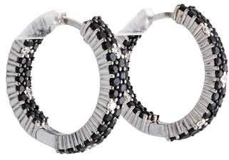 Roberto Coin 18K Black Sapphire & Diamond Fantasia Inside-Out Hoop Earrings