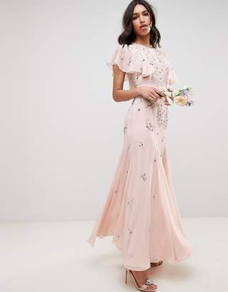 Asos Design DESIGN embellished maxi dress with angel sleeve