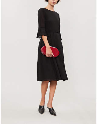 Cefinn Flared-cuff pleated crepe dress