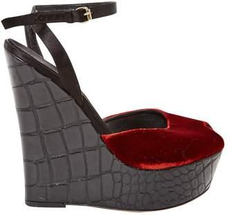 Giambattista Valli Burgundy Velvet Sandals