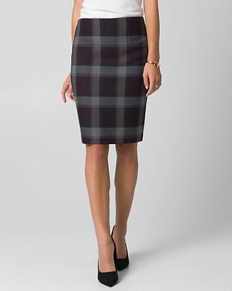 Le Château Check Print Viscose Blend Pencil Skirt