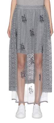 Stella McCartney 'Isabella' floral embellished tulle panel lace skirt