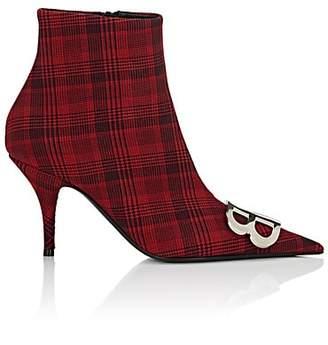Balenciaga Women's Plaid Canvas Ankle Boots - Wine