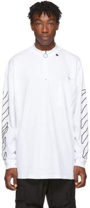 Off-White White and Black Abstract Arrows Long Sleeve T-Shirt