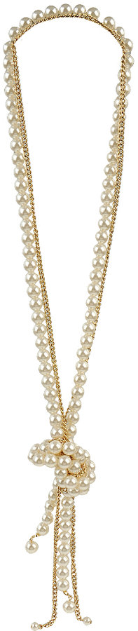 Pearl & Chain Knot Necklace