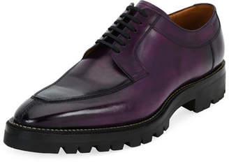 Bally Scuber Lug-Sole Leather Derby Shoe, Purple