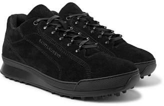 Saint Laurent Jump Brushed-Suede Sneakers - Black