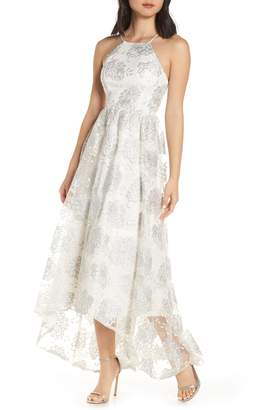 Sequin Hearts Embroidered High/Low Dress