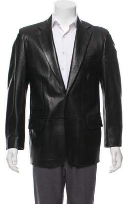 Gucci Leather Notch-Lapel Overcoat