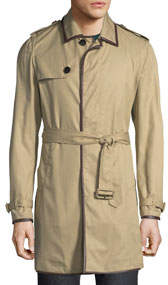 Men's Trench Coat with Leather Trim