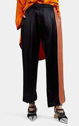 Loewe Women's Striped Satin Wide-Leg Trousers - Black