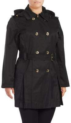 MICHAEL Michael Kors Hooded Double-Breasted Trench Coat