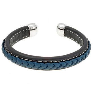 FINE JEWELRY Mens Black and Blue Braided Leather Cuff Bracelet