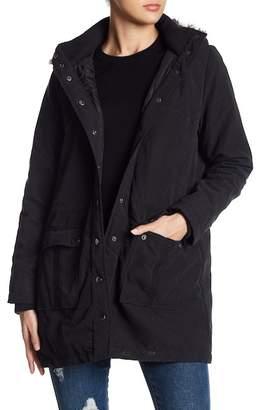 BB Dakota Ethan Faux Fur Trim Hooded Coat