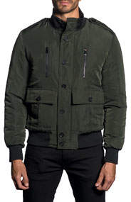 Semi-Fitted Stand Collar Military Jacket Dark Green