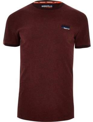 River Island Superdry burgundy crew neck T-shirt