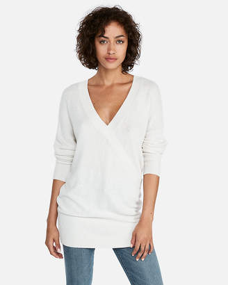 Express Banded Bottom Wrap Front Tunic Sweater