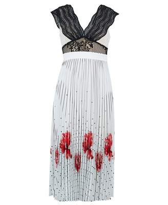Foxiedox Hera Print Pleat Skirt Dress Colour: WHITE, Size: LARGE