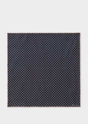 Paul Smith Men's Black Polka Dot Silk Pocket Square 'Signature Stripe' Border