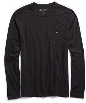 Todd Snyder Made in L.A. Garment Dyed Long Sleeve Tee in Black