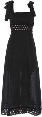 Zimmermann Crochet Detail Fitted Waist Maxi Dress