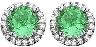 5th & Main Platinum-Plated Sterling Silver Round-Cut Green Obsidian Pave CZ Earrings