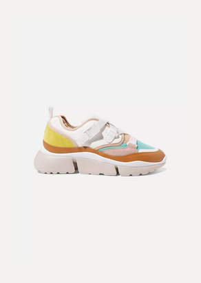Chloé Sonnie Canvas, Mesh, Suede And Leather Sneakers - White