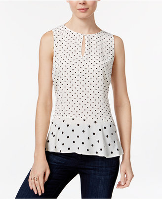 Maison Jules Polka-Dot Peplum Top, Only at Macy's $49.50 thestylecure.com