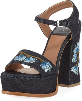Laurence Dacade Perla Embroidered Denim Platform Sandal