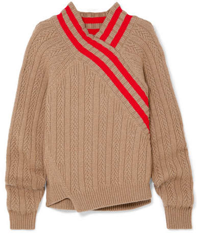 Jil Sander - Striped Cable-knit Wool-blend Sweater - Brown