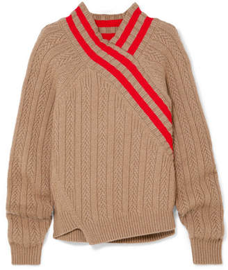 Jil Sander Striped Cable-knit Wool-blend Sweater - Brown