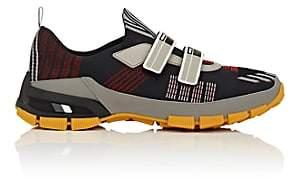 Prada Men's Double-Strap Tech-Knit Sneakers-Black