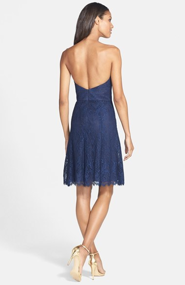 Women's Jim Hjelm Occasions Strapless Lace A-Line Dress