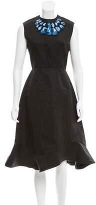Vika Gazinskaya Silk Crochet-Trimmed Dress