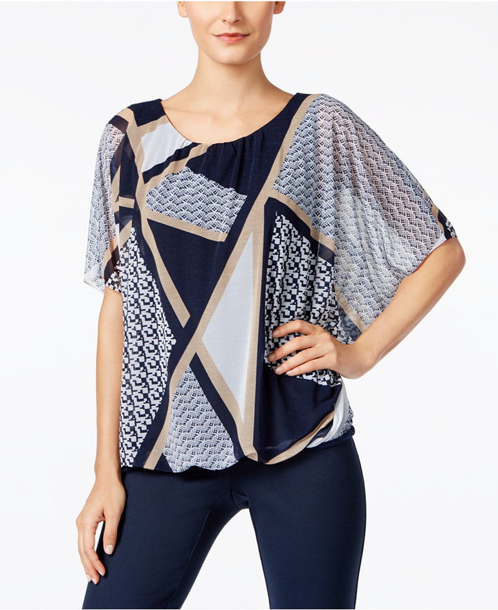 Alfani Alfani Printed Blouson Top, Only at Macy's