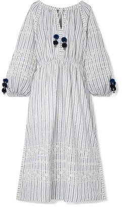 LoveShackFancy Isla Embroidered Striped Cotton-voile Midi Dress - White
