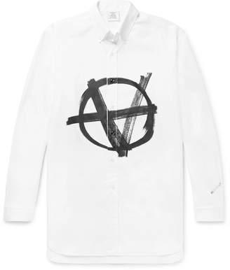 Vetements Button-Down Collar Logo-Print Cotton-Poplin Shirt - Men - White