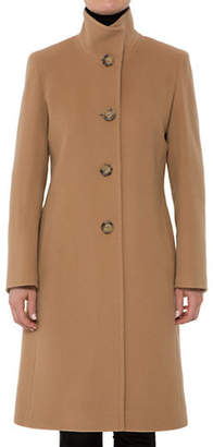 Cinzia Rocca Long Mock Neck Wool-Blend Coat