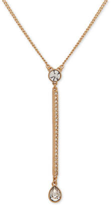 "DKNY Gold-Tone Crystal Lariat Necklace, 16"" + 3"" extender"