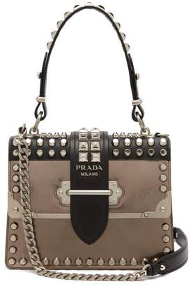 Prada Cahier Metallic Leather Studded Shoulder Bag - Womens - Silver