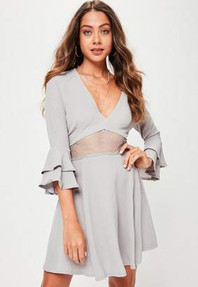 Missguided Grey Crop Sleeve Lace Waist Skater Dress, Grey