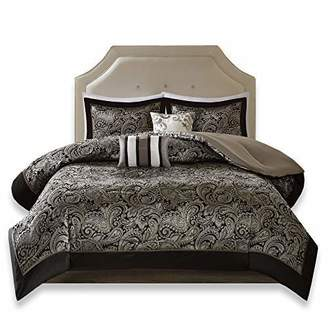 Comfort Spaces Charlize 5 Piece King Size Comforter Set Paisley Jacquard Bedding