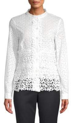 Oscar de la Renta Cotton Eyelet Lace Blouse