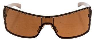 Blumarine Embellished Shield Sunglasses