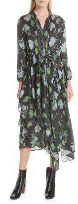 Christian Wijnants Floral Print Asymmetrical Silk Charmeuse Dress