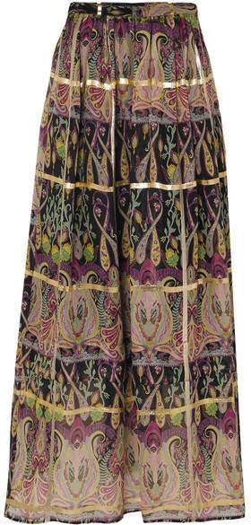 Etro Metallic Printed Silk-blend Jacquard Maxi Skirt