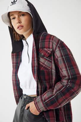 Urban Renewal Vintage Remade Plaid Flannel Hooded Button-Down Shirt